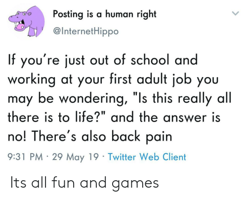 """fun and games: Posting is a human right  @InternetHippo  If you're just out of school and  working at your first adult job you  may be wondering, """"Is this really all  there is to life?"""" and the answer is  no! There's also back pain  9:31 PM 29 May 19 Twitter Web Client Its all fun and games"""