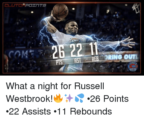 pot: POT TS  R2  BRING OUTI What a night for Russell Westbrook!🔥✨💦 •26 Points  •22 Assists •11 Rebounds