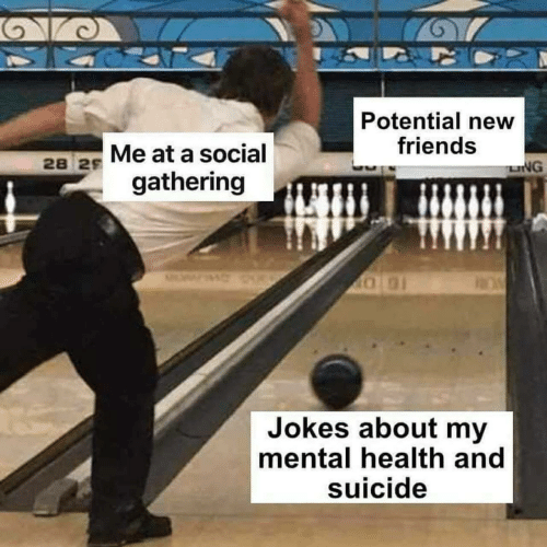 New Friends: Potential new  friends  28 2s Me at a social  LNG  gathering  Jokes about my  mental health and  suicide