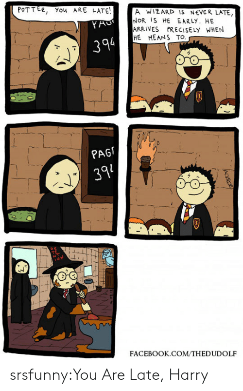 Never Late: POTTER, You ARE LATE!  A WIZARD IS NEVER LATE  NOR IS HE EARLY. HE  ARRIVES PRECISELY WHEN  HE MEANS TO  YAC  394  PAG  394  FACEBOOK.COM/THEDUDOLF srsfunny:You Are Late, Harry