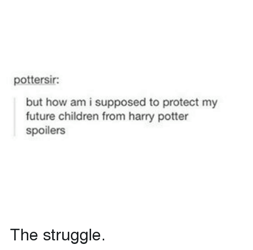 Harry Potter, Potter, and Am I: pottersir:  but how am i supposed to protect my  future children from harry potter  spoilers The struggle.