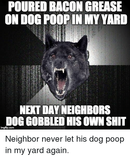 Poop, Shit, and Grease: POURED BACON GREASE  ON DOG POOP IN MY YARD  NEXT DAY NEIGHBORS  DOG GOBBLED HIS OWN SHIT
