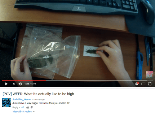 Youtube Snapshots: [Povl WEED: What its actually like to be high  Scribbling Gamer 5 months ago  SG dude i have a way bigger tolerance then you and I'm 12  Reply 45  View all 47 replies  F1