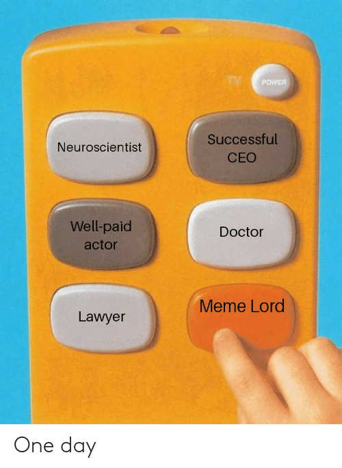 Doctor Meme: POWER  Successful  CEO  Neuroscientist  Well-paid  actor  Doctor  Meme Lord  Lawyer One day