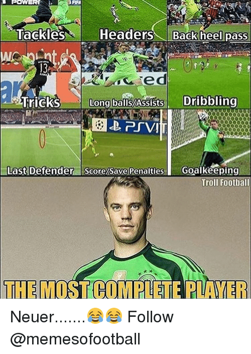 Memes, Troll, and Trolling: POWER  Tackles  Headers  Back heel pass  ed  Tricks Long balls!Assists  Dribbling  Last Defender  Score/Save Penalties  I Goalkeeping  Troll Football  THE MI Neuer.......😂😂 Follow @memesofootball