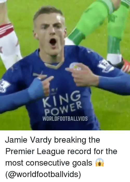 jamie vardy breaking the premier league record for the most