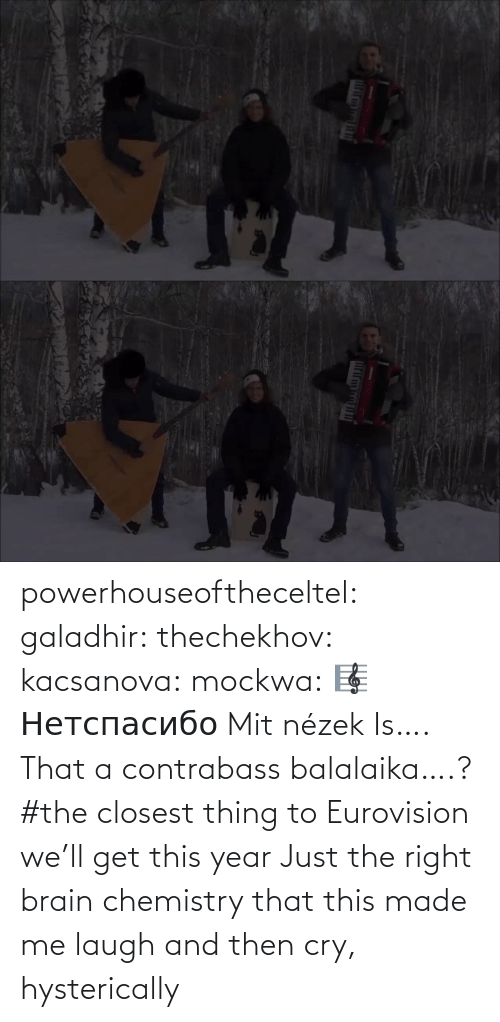 this year: powerhouseoftheceltel: galadhir:  thechekhov:  kacsanova:  mockwa:    🎼  Нетспасибо  Mit nézek    Is…. That a contrabass balalaika….?    #the closest thing to Eurovision we'll get this year    Just the right brain chemistry that this made me laugh and then cry, hysterically