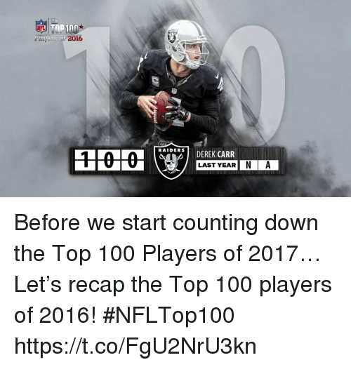 derek carr: Poyers of  2016  RAIDERS  DEREK CARR  LAST YEAR  IN A Before we start counting down the Top 100 Players of 2017…  Let's recap the Top 100 players of 2016! #NFLTop100 https://t.co/FgU2NrU3kn