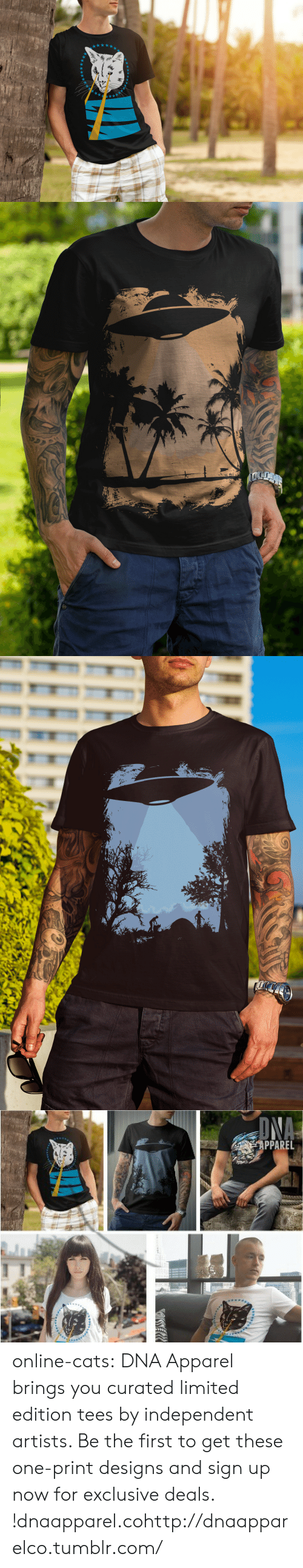 Curated: PPAREL online-cats:    DNA Apparel brings you curated limited edition tees by independent artists. Be the first to get these one-print designs and sign up now for exclusive deals. !dnaapparel.cohttp://dnaapparelco.tumblr.com/