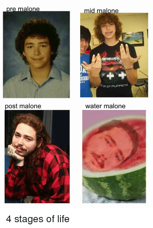 puppets: pr  mid malone  R OF PUPPETS  post malone  water malone 4 stages of life