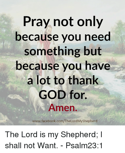 dank: Pray not only  because you need  something but  because you have  a lot to thank  GOD for.  Amen  www.facebook.com/TheLordMyShepherd The Lord is my Shepherd; I shall not Want. - Psalm23:1