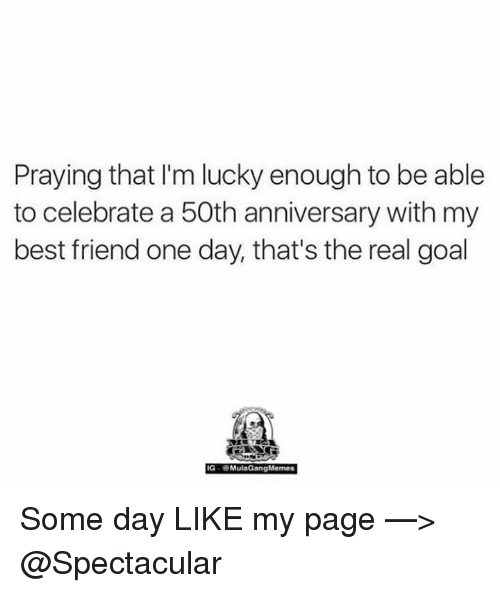 Mula Gang: Praying that I'm lucky enough to be able  to celebrate a 50th anniversary with my  best friend one day, that's the real goal  IG-6 Mula Gang Memes Some day  LIKE my page —> @Spectacular