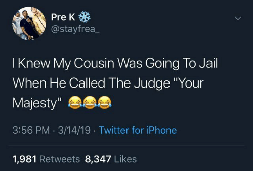 """pre-k: Pre K  @stayfrea_  I Knew My Cousin Was Going To Jail  When He Called The Judge Your  Majesty""""  3:56 PM.3/14/19 Twitter for iPhone  1,981 Retweets 8,347 Like:s"""