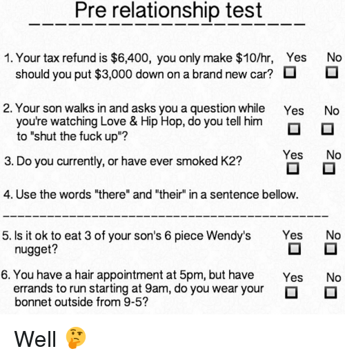 Pre Relationship Test 1 Your Tax Refund Is $6400 You Only
