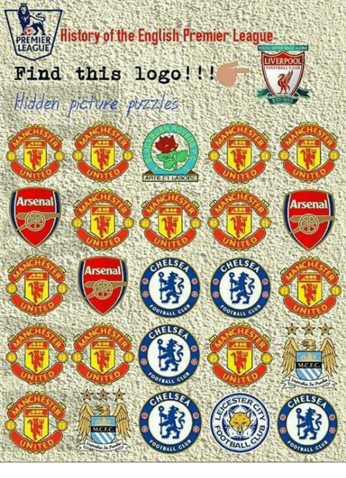 English Premier League: PREES/History of the English Premier League  Find this logo!  LEAGUE  LIVERPOOL  HE  TED  ITED  TED  Arsenal  HE  HE  Arsenal  ITED  HE  E  Arsenal Cas  AELSE  UNIT  ITED  ITE  HE  CHEL  UNI  TED  TED  NITE  HE  AELSE  STER  ELS  UNIT  FOOTBALL  BALL
