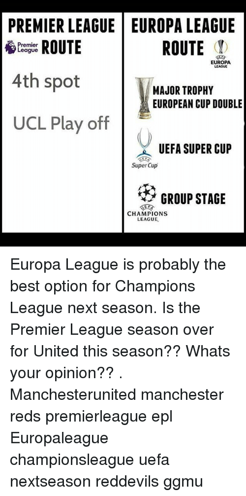 Memes, Premier League, and Best: PREMIER LEAGUE EUROPA LEAGUE  ROUTE  ROUTE  Premier  League  EUROPA  4th spot  MAJOR TROPHY  EUROPEAN CUP DOUBLE  UCL Play off  UEFA SUPER CUP  Super Cup  GROUP STAGE  CHAMPIONS  LEAGUE. Europa League is probably the best option for Champions League next season. Is the Premier League season over for United this season?? Whats your opinion?? . Manchesterunited manchester reds premierleague epl Europaleague championsleague uefa nextseason reddevils ggmu