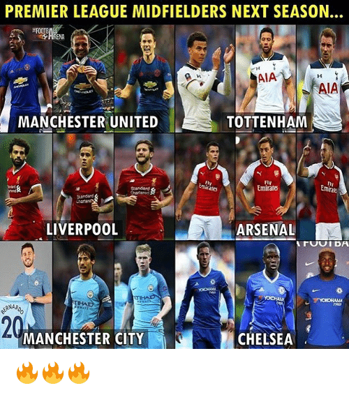 Arsenal, Chelsea, and Memes: PREMIER LEAGUE MIDFIELDERS NEXT SEASON.  RENA  AIA  A AIA  MANCHESTER UNITED  TOTTENHAM  Fly  mitates  Fly  Emirates  Emirafe  Sandard  Chart  LIVERPOOL  ARSENAL  20  MANCHESTER CITY  CHELSEA 🔥🔥🔥
