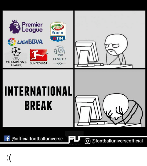 Memes, 🤖, and Bundesliga: Premier  League  SERIEA  LICA BBVA TIM  LIGUE 1  CHAMPIONS  BUNDESLIGA  LEAGUE.  INTERNATIONAL  BREAK  f @officialfootballuniv  CO @footballuniverseofficial :(