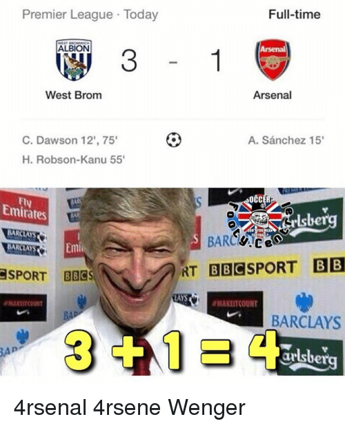 Memes, 🤖, and Bbc: Premier League Today  ALBION  West Brom  C. Dawson 12', 75'  H. Robson-Kanu 55'  Emirates  BARCLAS  Emil  BARCLAYS  SPORT BACS  BAD  Full-time  Arsenal  A. Sanchez 15'  OCC  NT BBC SPORT BB  LAYS  BARCLAYS  ar 4rsenal 4rsene Wenger