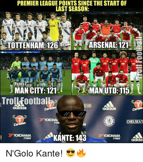 Arsenal, Memes, and 🤖: PREMIERLEAGUE POINTS SINCE THE START OF  LAST SEASON:  ASIA  AIA NAIA  AIA  AIA  AVA.  ARSENAL: 121  TOTTENHAM 126  ffrms7  Trol Footbal  HD  OCHEL  SEAT  AKANTE,143 N'Golo Kante! 😎🔥