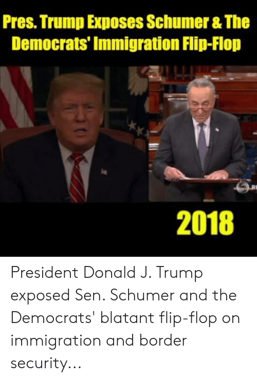 Immigration: Pres. Trump Exposes Schumer & The  Democrats' Immigration Flip-Flop  2018 President Donald J. Trump exposed Sen. Schumer and the Democrats' blatant flip-flop on immigration and border security...
