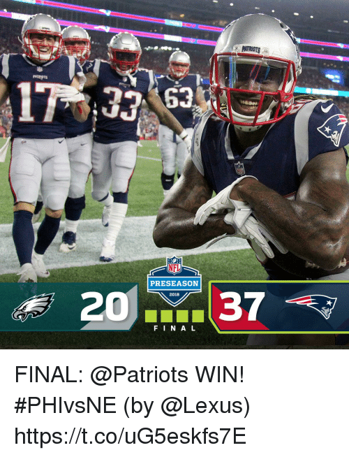 Lexus, Memes, and Patriotic: PRESEASON  2037  2018  F IN AL FINAL: @Patriots WIN! #PHIvsNE  (by @Lexus) https://t.co/uG5eskfs7E