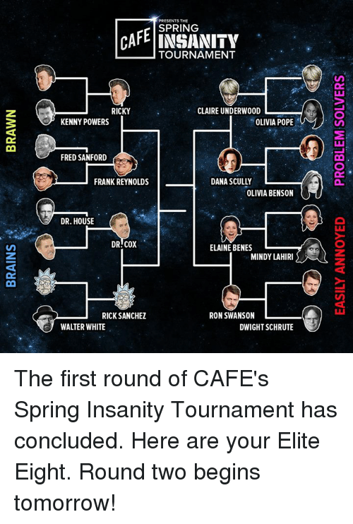 Olivia Pope: PRESENTS THE  CAFE SPRING  TOURNAMENT  CLAIRE UNDERWOOD  L  RICKY  OLIVIA POPE  KENNY POWERS  FRED SANFORD  FRANK REYNOLDS  DANA SCULLY  OLIVIA BENSON  DR HOUSE  DR COX  ELAINE BENES  MINDY LAHIRI  RICK SANCHEZ  RON SWANSON  L  WALTER WHITE  DWIGHT SCHRUTE The first round of CAFE's Spring Insanity Tournament has concluded. Here are your Elite Eight. Round two begins tomorrow!