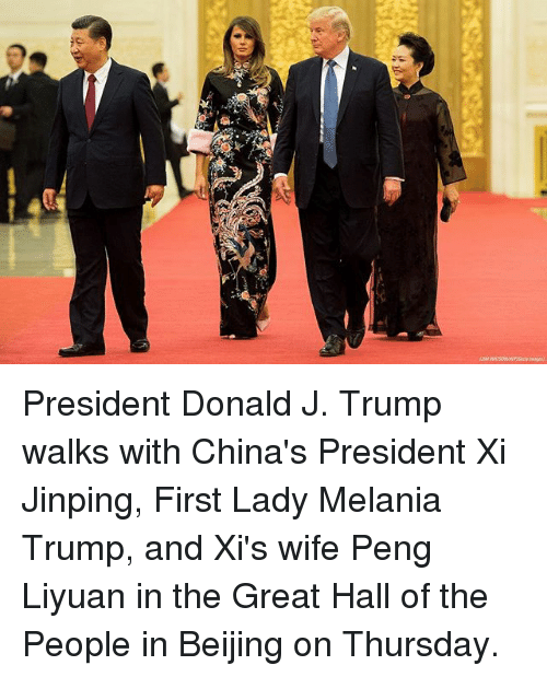 Beijing: President Donald J. Trump walks with China's President Xi Jinping, First Lady Melania Trump, and Xi's wife Peng Liyuan in the Great Hall of the People in Beijing on Thursday.