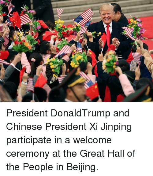 Beijing, Memes, and Chinese: President DonaldTrump and Chinese President Xi Jinping participate in a welcome ceremony at the Great Hall of the People in Beijing.