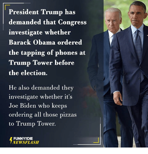 Dank, Joe Biden, and Barack Obama: President Trump has  demanded that Congress  investigate whether  Barack Obama ordered  the tapping of phones at  Trump Tower before  the election.  He also demanded they  investigate whether it's  Joe Biden who keeps  ordering all those pizzas  to Trump Tower  FUNNY DIE  NEWSFLASH