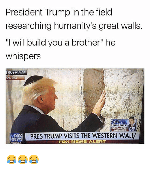 "Memes, News, and Fox News: President Trump in the field  researching humanity's great walls.  ""I will build you a brother"" he  whispers  RUSALEM  :24 PM  SPECIAL  REPORT  from RIYADH  SAUDI ARABIA  PRES TRUMP VISITS THE WESTERN WAL  EWS  FOX NEWS ALERT 😂😂😂"