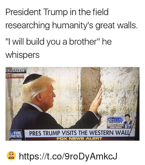 "News, Fox News, and Saudi Arabia: President Trump in the field  researching humanity's great walls.  will build you a brother"" he  whispers  ERUSALEM  24 PM  SPECIAL  REPORT  from RIYADH  SAUDI ARABIA  PRES TRUMP VISITS THE WESTERN WAL  FOX  EWS  FOX NEWS ALERT 😩 https://t.co/9roDyAmkcJ"