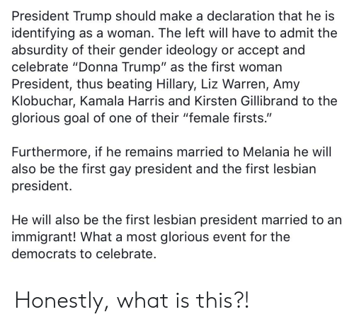 "first-woman-president: President Trump should make a declaration that he is  identifying as a woman. The left will have to admit the  absurdity of their gender ideology or accept and  celebrate ""Donna Trump"" as the first woman  President, thus beating Hillary, Liz Warren, Amy  Klobuchar, Kamala Harris and Kirsten Gillibrand to the  glorious goal of one of their ""female firsts.""  Furthermore, if he remains married to Melania he will  also be the first gay president and the first lesbian  president.  He will also be the first lesbian president married to an  immigrant! What a most glorious event for the  democrats to celebrate. Honestly, what is this?!"