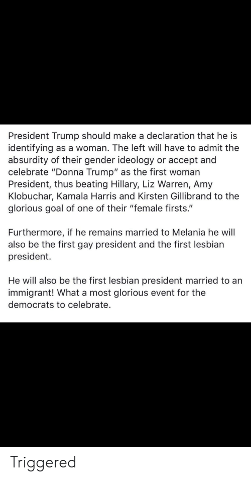 "first-woman-president: President Trump should make a declaration that he is  identifying as a woman. The left will have to admit the  absurdity of their gender ideology or accept and  celebrate ""Donna Trump"" as the first woman  President, thus beating Hillary, Liz Warren, Amy  Klobuchar, Kamala Harris and Kirsten Gillibrand to the  glorious goal of one of their ""female firsts.""  Furthermore, if he remains married to Melania he will  also be the first gay president and the first lesbian  president.  He will also be the first lesbian president married to an  immigrant! What a most glorious event for the  democrats to celebrate. Triggered"
