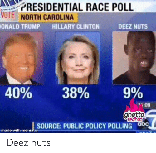 Ghetto Redhot: PRESIDENTIAL RACE POLL  VOTE NORTH CAROLINA  ONALD TRUMP  HILLARY CLINTON  DEEZ NUTS  40%  38%  9%  11:09  ghetto  redhot  SOURCE:PUBLIC POLICY POLLING abc  made with mematic Deez nuts