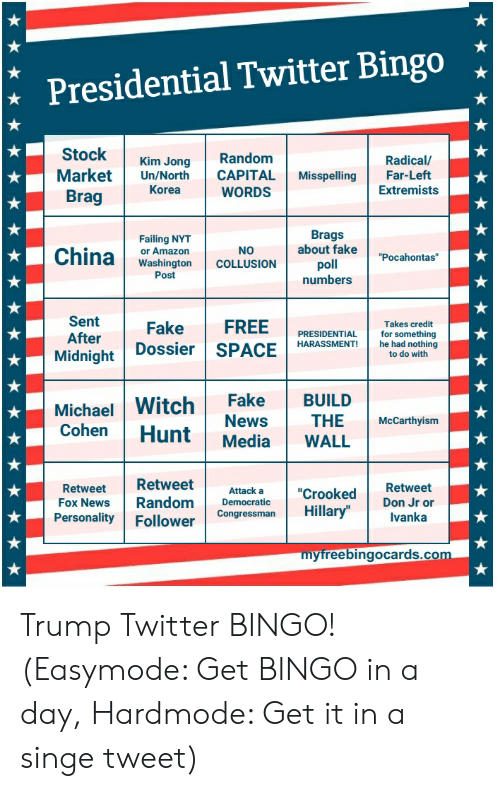 "Trump Twitter: Presidential Twitter Bingo *  Stock Kim Jong Random  Radical/  Market Un/North CAPITAL MisspellingFar-Left  WORDS  Korea  Extremists  Brag  Failing NYT  or Amazon  Washington COLLUSION poll  Brags  about fake""Pocahontas  Post  numbers  Sent  After  Fake FREE  Takes credit  PRESIDENTIAL  HARASSMENT!  Midnight Dossier SPAhehadnethlng  he had nothing  to do with  Michael Witch Fake BUILD  NewsTHE McCarthyism  Cohen Hunt Media WALL  RetweetRetweet  Personality Follower  Attack a ""Crooked  Fox News RandomConcresmanHillary""Ivanka  Fox News RandomDemocratic  Don Jr or  Congressman Hilla  myfreebingocards.co Trump Twitter BINGO! (Easymode: Get BINGO in a day, Hardmode: Get it in a singe tweet)"