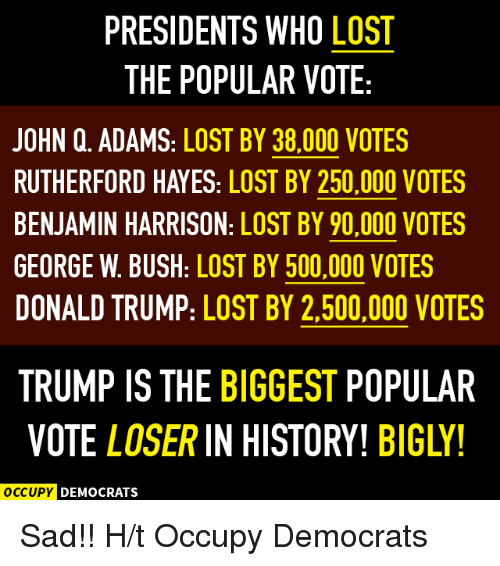 George W. Bush, Memes, and 🤖: PRESIDENTS WHO LOST  THE POPULAR VOTE  JOHN Q. ADAMS: LOST BY 38.000 VOTES  RUTHERFORD HAYES: LOST BY 250,000 VOTES  BENJAMIN HARRISON: LOST BY 90,000 VOTES  GEORGE w. BUSH: LOST BY 500.000 VOTES  DONALD TRUMP: LOST BY 2,500,000 VOTES  TRUMP IS THE BIGGEST POPULAR  VOTE LOSER IN HISTORY! BIGLY!  OCCUPY DEMOCRATS Sad!!  H/t Occupy Democrats