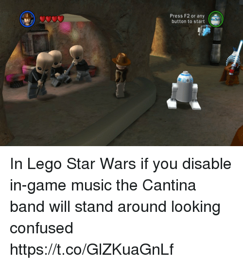 Lego Star Wars: Press F2 or any  button to start In Lego Star Wars if you disable in-game music the Cantina band will stand around looking confused https://t.co/GlZKuaGnLf