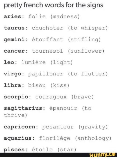 Funny, Aquarius, And Aries: Pretty French Words For The Signs Aries Folie (