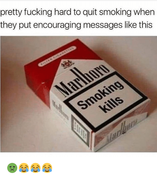 Fucking, Funny, and Smoking: pretty fucking hard to quit smoking when  they put encouraging messages like this 🤢😂😂😂