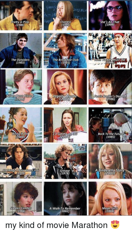 Clueless: Pretty in Pink  (1986)  The outsiders  1983)  Never Benn Kissed  Bring on  (2000)  Sixteen Candles  Clueless  (193s)  The Break ast club  Legally Blonde  13 Going on B  (20  rease  A Walk To Remember  2002)  She's All That  (1999)  (2006L  f1986)  (1985)  (2000)  Mean Girls my kind of movie Marathon 😍