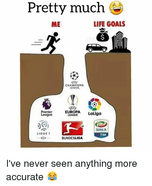 Goals, Life, and Soccer: Pretty much e  ME  LIFE GOALS  CHAMPIONS  LEAGUE,  EUROPA LaLiga  remier  eague  LEAGUE  SERIEA  TIM  LIGUE 1  BUNDESLIGA I've never seen anything more accurate 😂