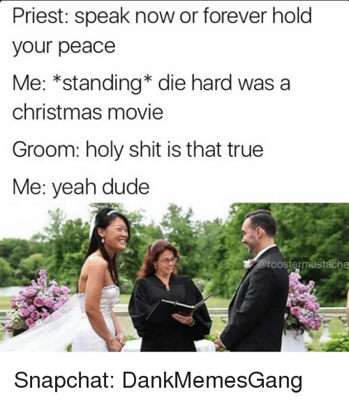 Memes, 🤖, and Die Hard: Priest: speak now or forever hold  your peace  Me: *standing die hard was a  christmas movie  Groom: holy shit is that true  Me: yeah dude  a rooster mustach Snapchat: DankMemesGang