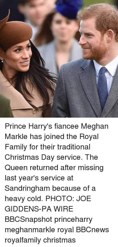 Christmas, Family, and Memes: Prince Harry's fiancee Meghan Markle has joined the Royal Family for their traditional Christmas Day service. The Queen returned after missing last year's service at Sandringham because of a heavy cold. PHOTO: JOE GIDDENS-PA WIRE BBCSnapshot princeharry meghanmarkle royal BBCnews royalfamily christmas