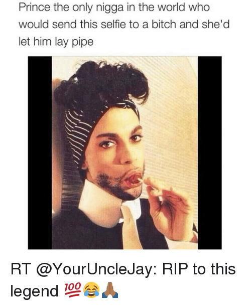 Bitch, Lay's, and Prince: Prince the only nigga in the world who  would send this selfie to a bitch and she'd  let him lay pipe RT @YourUncleJay: RIP to this legend 💯😂🙏🏾