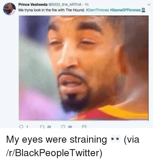 The Hound: Prince Vesheeda @SIDD tHe ARTHA 1h  Me tryna look in the fire with The Hound. #DemThrones #Game○Thrones 묘  29  69 <p>My eyes were straining 👀 (via /r/BlackPeopleTwitter)</p>