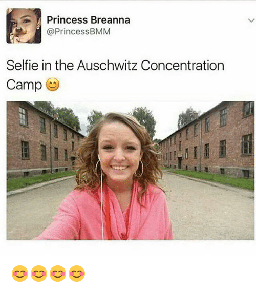 Memes, Selfie, and Auschwitz: Princess Breanna  @Princess BMM  Selfie in the Auschwitz Concentration  Camp 😊😊😊😊