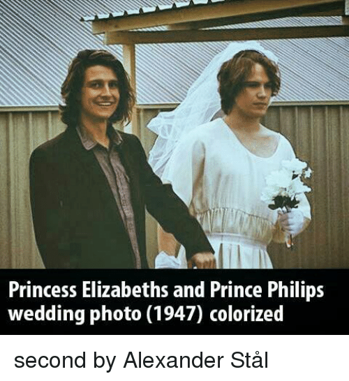 Prince, Princess, and Wedding: Princess Elizabeths and Prince Philips  wedding photo (1947) colorized second by Alexander Stål