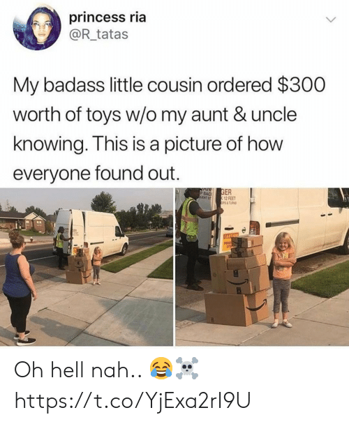 tas: princess ria  @R_tatas  My badass little cousin ordered $300  worth of toys w/o my aunt & uncle  knowing. This is a picture of how  everyone found out.  GER  12 FEET  OPS& TAS  P BAC  NT ST  CAUTION Oh hell nah.. 😂☠️ https://t.co/YjExa2rI9U