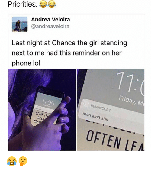 Friday, Lol, and Memes: Priorities  Andrea Veloira  @andreaveloira  Last night at Chance the girl standing  next to me had this reminder on her  phone lol  Friday, M  REMINDERS  OFTEN LE  men ain't  shit  BEAU  DES  OFTEN LFA 😂🤔